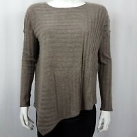 INC Women's Sweater Size XS Pullover Asymmetric Long Sleeve Brown Gray