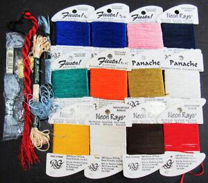 16x Needlepoint/Embroidery THREAD RG Panache/Neon Rays/Fiesta+more rayon-TN119