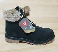 Timberland 6 Inch Premium GS Boots Faux Fur Trim Junior Black TB0A1TTY001