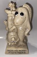 "World's Worst Fisherman figurine 1972 O W & R Berries #9051 6.25"""