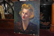 Vintage Rubinfeld Oil Painting On Board-Glamorous Blond Woman W/Red Lipstick