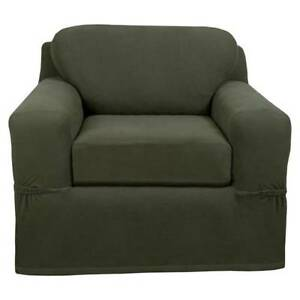 "*Maytex Stretch Pixel Chair Slipcover (2 Piece), Dark Olive Fits 32""-43"" Wide"