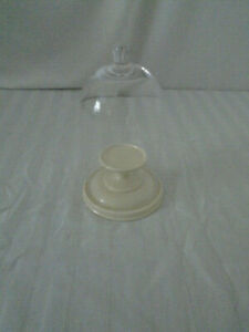 """7 1/2"""" Tall Glass Bell Shaped Dome Display Stand/ w Bulb Handle  Porcelain base"""