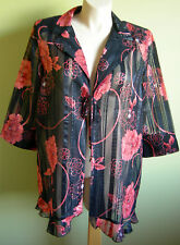 Ladies Womens 3/4 Sleeve Collar Shear Open Front Jacket Top Millers Size 20