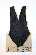 NWT J Crew V-Neck One Piece Swimsuit Italian Matte Black Sz 2 XS E8329