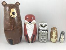 Woodland Nesting Set, Includes Bear, Fox, Owl, Rabbit & Mouse. Russian Doll Set