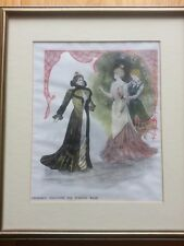 ANTIQUE PRINT C1800'S DESIRABLE CREATIONS FOR EVENING WEAR COLOUR PERIOD FASHION