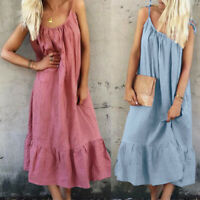 ZANZEA 8-24 Women Summer Strappy Long Midi Sundress Peplum Slip Dress CaDress
