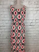 Womens Pink Black Geometric Print Silky Feel Sleeveless Maxi Dress Size 8/10