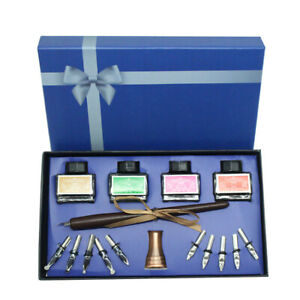 Calligraphy Set, Glass Dip Pen and Handcrafted Wooden Dip Pen 4 ink bottle Gift