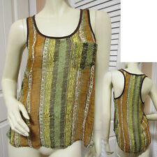 LILY WHITE Womens Sleeveless Racerback Sheer Top Tank S Multicolor Summer Tops
