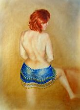 back nude with belly dance skirt with gold coins, painted with oil, b3 canvas