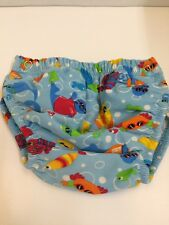 ZOGGS Adjustable Swim Nappy Blue Fish Age 3-24 months poppers hook and loop