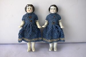 """Antique China Head German Bisque Doll Porcelain Beaded Dress Hand Work Blue 2P""""F"""