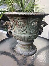 True Antique Cast Bronze Urn Garden Planter Jardiniere Ornate Heavy Estate Find