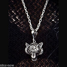 Goth Necklace Silver Wolf Pendant Halloween Costume Accessory