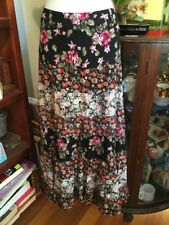 Festival Peasant Gypsy Hippy pretty Black Floral Tiered Lined Maxi Skirt Sz S