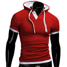 2017 Men Summer Short Sleeve Pullover Tops Fashion Sports Boys Hooded T Shirt