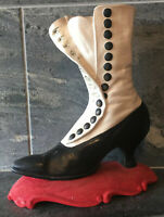 VTG Atlantic Mold Ceramic Victorian Spat Boot High Heel Shoe CHRISTMAS EQUISITE