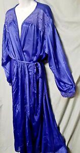"""Amoureuse Purple Robe Real Purple Vintage Style Long Large 42 """" Bust"""