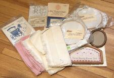 Vintage Cross Stitch Lot Towels Frames Hoops Fiddlers Cloth Waste Canvas