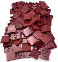 Lego 50 New Dark Red Tiles 2 x 2 with Groove Flat Smooth Pieces