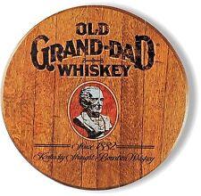 Old Grand Dad Whiskey - Barrel Top Design - Metal Sign - 14 inch Diameter