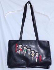 2003 Betty Boop embroidered design ~ Black Faux Leather Shoulder Bag FREE SHIPPI