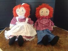 RAGGEDY ANN and RAGGEDY ANDY 24 inch Handmade set of Cloth Dolls