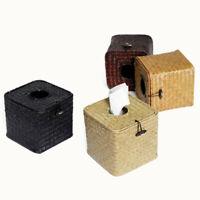 JP_ BU_ Square Wicker Straw Woven Tissue Dispenser Box Roll Paper Napkin Case