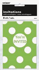 GREEN POLKA DOTS - 8 Party Invitations - Spots Birthday Party