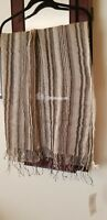 """Eileen Fisher Wrap Linen ITALY Organic Cotton Metallic Stripe 26"""" x 72"""" NWT$138"""