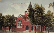 Albia IA Arch Entrances to Corner Tower of Christian Church c1910 Postcard