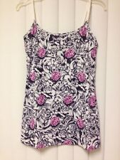 SO CALI Pink Roses Tattoo Look Top Spaghetti Strap Camisole  UV ProtectIon L NWT