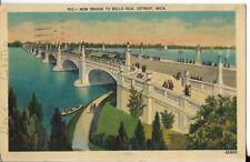 new bridge to belle isle,detroit michigan postcard dated 1943