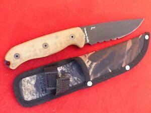 Ontario USA  TAK 1 serrated full tang fixed blade knife & sheath