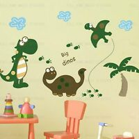 LARGE DINOSAURS Wall Stickers Boys Girls Childrens BedRoom Reusable Art Decor