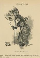 ANTIQUE LITTLE BO PEEP LAMB SHEEP GIRL STAFF ARTIST MAUD HUMPHREY OLD ART PRINT