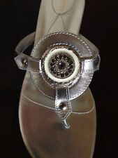 New CHRISTIN MICHAELS Size: 10.5 M SILVER Leather Gemstone Shoes Made In Italy