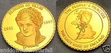 Princess Diana Gold Coin Autographed British Map Wales Royalty Crown Beautiful