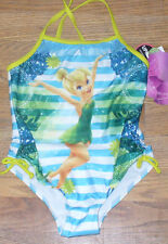 NWT Disney Tinkerbell Onepiece Swimsuit 5 Blue Green Stripes Cute!
