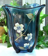 "Fenton ~~ SALE ~~ Indigo Blue Vase 7-1/2"" CHERRY BLOSSOMS Cir 2007  LAST ONE !!"