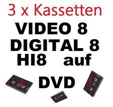 3 x Video 8, Hi8, MiniDV,D8,VHS-C  auf DVD digitalisieren Überspielen Kopieren