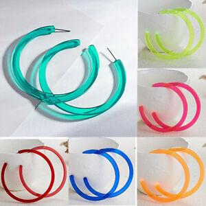 Boho Neon Colors Acrylic Large Circle Big Hoop Women Earrings Party Ear Stud