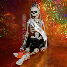 "16"" PROM QUEEN SKELETON hangable Halloween decoration jointed horror tiara tulle"