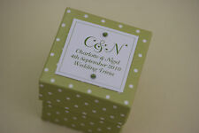 1 x Handmade Personalised GREEN POLKA DOT Favour Boxes - Any Qty Any Design