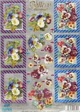 Pansy Flowers NO CUTTING -  Die Cut Dufex 3d Decoupage Card Making Paper Craft