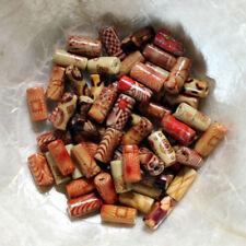 10 PERLES BOIS - CYLINDRES - 6/12 MM  - Mix Beige-Marron-Rouge - Trou ENV 2 mm