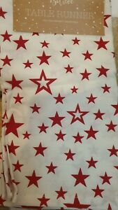 RED STAR CLOTH TABLE RUNNER, CHRISTMAS, WEDDING, NEW YEAR