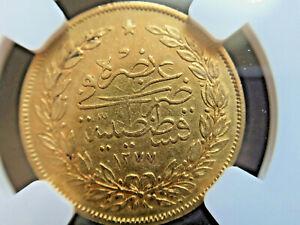Ottoman Empire 1870 Abdul Aziz Gold Coin 100 Kurush AH 1277  NGC XF only 1